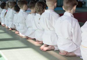 Aikido Kindertraining - Kinder sitzen im Seiza (Ansicht von hinten)