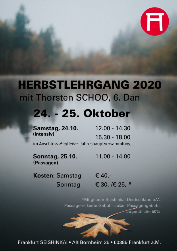 Ausschreibung Seishinkai Aikido Herbstlehrgang Oktober 2020